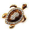 Large Brown Enamel Crystal Turtle Brooch (Gold Tone)
