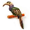 Multicoloured Enamel Exotic Parrot Bird Brooch (Gold Tone Metal) - 60mm L