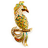 Large Gold Diamante Exotic Bird Brooch