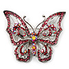 Pink Crystal Butterfly Brooch (Silver Tone Metal)
