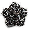 Black Crystal Flower Brooch (Gun Metal)