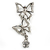 Diamante Charm Butterfly Brooch (Silver Tone)