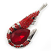 Large Hot Red Crystal Prawn Brooch (Silver Tone Metal)