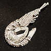 Large Clear Crystal Prawn Brooch (Silver Tone Metal)