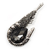 Large Dim Grey Crystal Prawn Brooch (Silver Tone Metal)