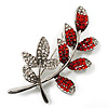 Delicate Red Crystal Leaf Brooch (Silver Tone Metal)