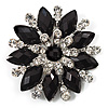 Black Acrylic Flower Brooch (Silver Tone Metal)