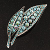 Large Light Blue Diamante 'Leaf' Pin/Pendant (Silver Tone)