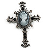 Victorian Style Cross Cameo Brooch (Gun Metal)