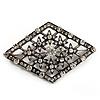 Vintage Diamante Geometric Brooch (Burn Silver Finish)