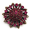 Magenta Crystal Dimensional Floral Corsage Brooch (Antique Gold Tone) [B01756]