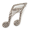 Large Crystal Musical Note Brooch (Silver Tone Metal)