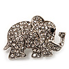 Small Silver Tone Clear Crystal Elephant Brooch