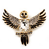 Black Enamel Crystal Owl Brooch (Gold Tone Metal)