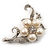 Silver Tone White Simulated Pearl Diamante Floral Brooch