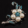 Silver Tone White Simulated Pearl Azure Diamante Floral Brooch