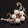 Silver Tone White Simulated Pearl Lavender Diamante Floral Brooch