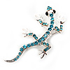 Small Azure Crystal Lizard Brooch (Silver Tone Metal)