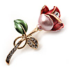 Romantic Enamel Crystal Rose Brooch (Gold Tone Metal)