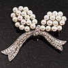 White Imitation Pearl Crystal Bow Brooch (Silver Tone Metal)