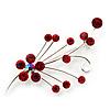 Silver Tone Red Diamante Floral Brooch