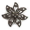 Dim Grey Swarovski Layered Flower Brooch (Gun Metal Finish)