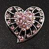 Silver Plated Pink Crystal Filigree Heart Brooch