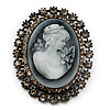 Oversized Oval Crystal Cameo Brooch (Gun Metal)