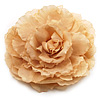 Oversized Camel Colour Silk Fabric Rose Brooch - 16cm Diameter