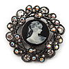 Black Round Crystal Cameo Brooch (Gun Metal Finish)