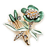 Green Enamel Crystal Bunch Of Flowers Brooch (Gold Tone)
