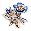 Violet Enamel Crystal Bunch Of Flowers Brooch (Gold Tone)