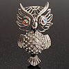 Large Filigree Crystal Owl Brooch (Silver Tone)
