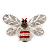 Funky Diamante Bee Brooch In Rhodium Plated Metal