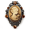 Crystal Vintage 'Lady' Cameo Brooch/Pendant In Burn Gold Metal