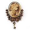 Vintage Diamante Charm Cameo Brooch/Pendant In Antique Gold Metal