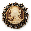 Vintage Round Crystal Cameo Brooch &amp; Pendant In Antique Gold Metal