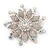 Large Bridal Swarovski Crystal Flower Brooch In Rhodium Plated Metal