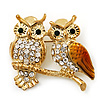 Two Crystal Sitting Owls Brooch (Bright Gold Tone Metal)