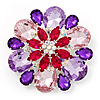 Dazzling Jewel Floral Corsage Brooch In Rhodium Plated Metal - 6.5cm Diameter