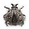 Black Crystal Ladybug Brooch (Silver Tone)