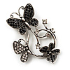 Diamante Butterfly Wreath Brooch (Burn Silver)