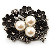 Vintage 'Bouquet of Flowers' Brooch In Burn Silver Metal