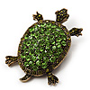Green Crystal Turtle Brooch (Bronze Tone Metal)