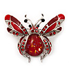 Large Enamel Bug Brooch (Red)