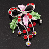 Red/Green Crystal Grapes And Bow Brooch (Silver Tone)