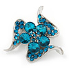 Dazzling Teal Blue Crystal Floral Brooch