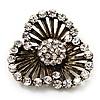 Vintage 3-Petal Flower Diamante Brooch In Bronze Metal