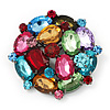 Large Multicoloured Dimensional Corsage Acrylic Brooch (Black Tone Metal)