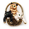 Cute 'Kittens In The Basket' Brooch In Gold Plated Metal
